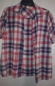 Red Blue Plaid Cotton Shirt Top XL Pkus